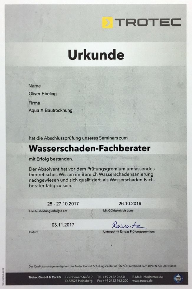 Urkunde Wasserschaden Fachberater