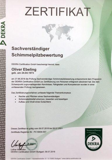 Zertifikat Sachverstaendiger Schimmelpilzbewertung Dekra